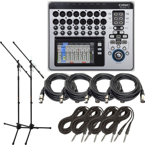 QSC TouchMix-16 Compact Digital Mixer with Touchscreen + Free Mic Stands and Cables