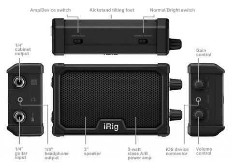 IK Multimedia iRig Nano Amp pocket amplifier with integrated iRig circuit, Black - Refurb