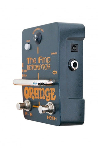 Orange AMP-DETONATOR Buffered active ABY switcher, custom designed isolating transformer, polarity switch, tri-color LED, 9v