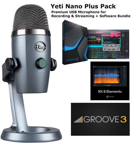 Blue Yeti Nano Plus Pack Premium USB Microphone Recording & Streaming Software Bundle