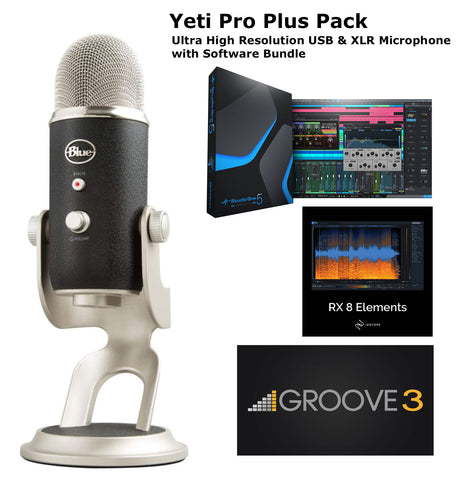Blue Yeti Pro USB & XLR Microphone Plus Pack Bundle with Presonus StudioOne 5 Artist DAW, iZotope RX Elements Plug-in and Groover 3 Tutorials 3-Month Subscription