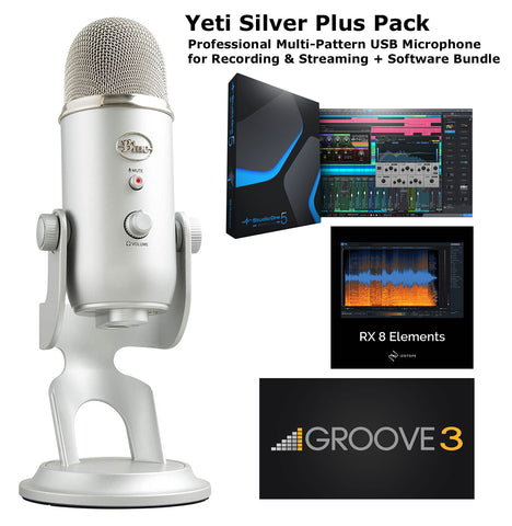 Blue Yeti Silver Plus Pack Professional Multi-Pattern USB Recording & Streaming Mic and Software Bundle