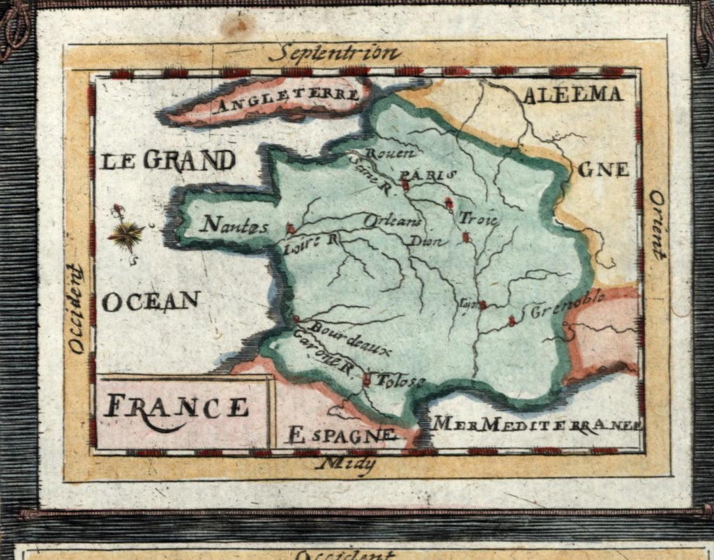 Low Countries Holland Belgium w/ France 1719 old Mallet map pair hand color