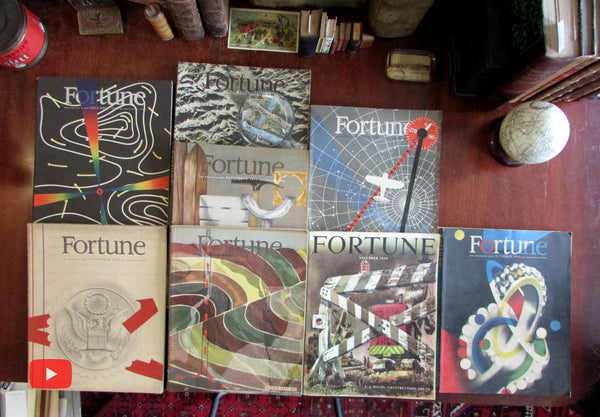 Fortune Magazine 1943-49 Lot x 8 issues color WW II ads & great covers