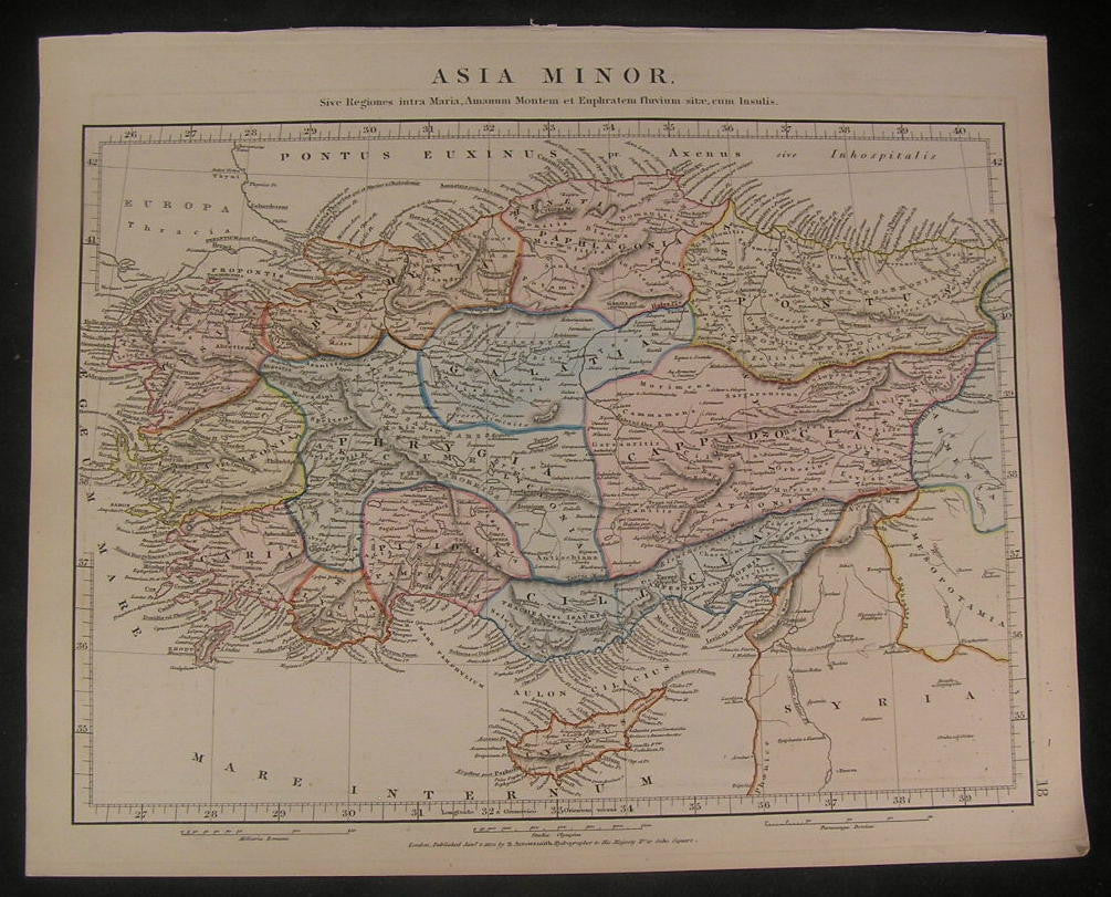Turkey Asia Minor 1828 Arrowsmith detailed fine old vintage antique map
