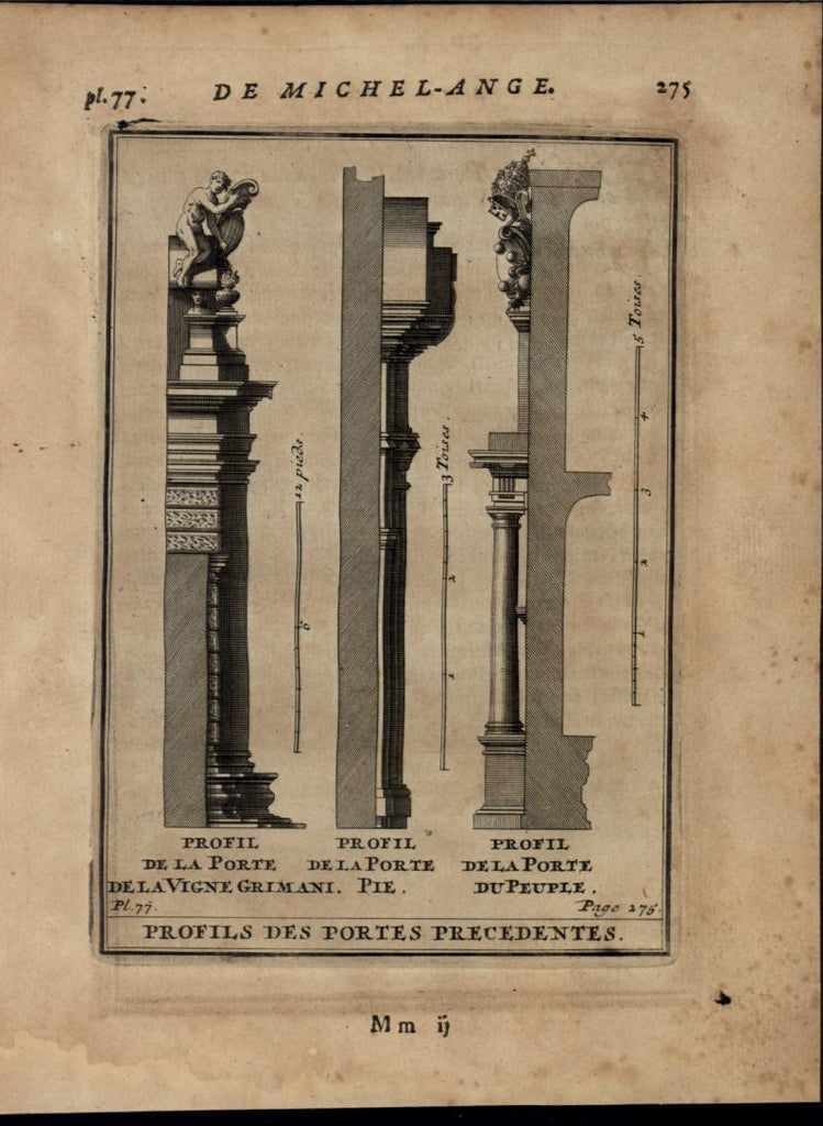 Door Profiles Vigne Grimani Porte Pie nice 1696 rare antique Architecture print