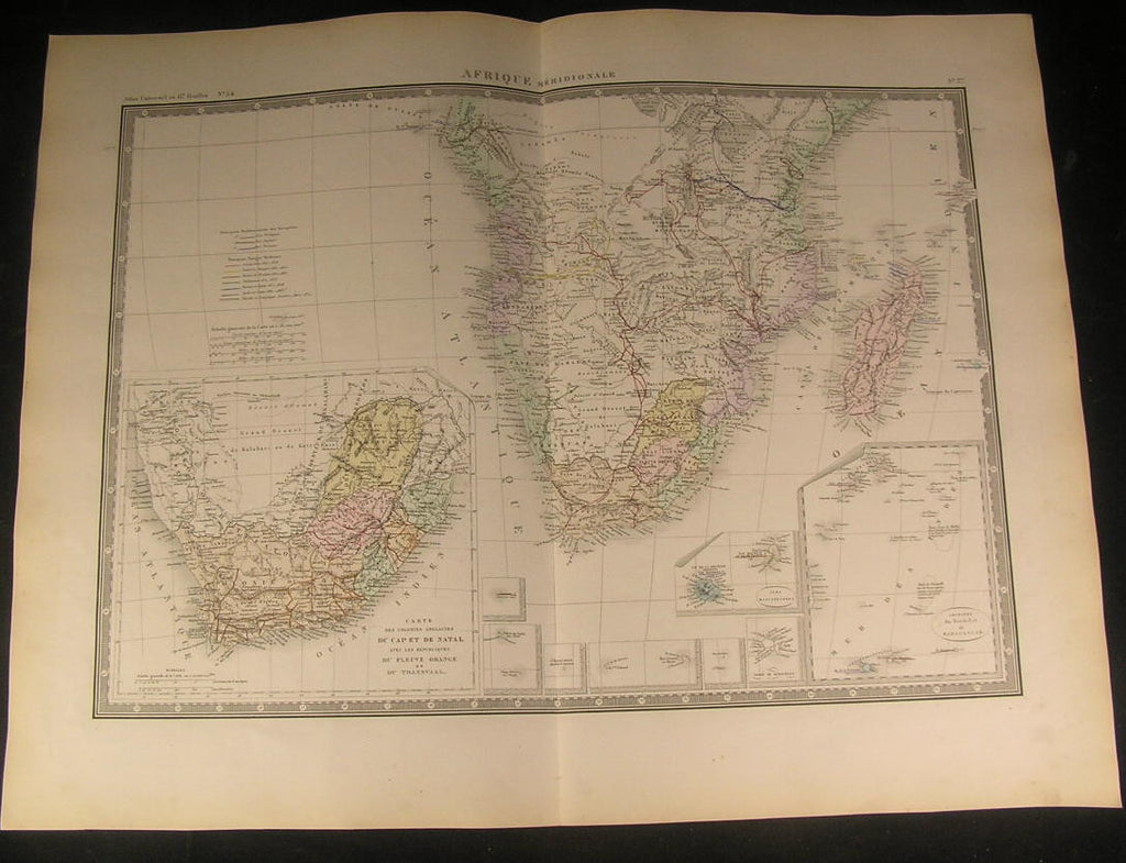 Southern Africa Madagascar Transvaal 1875 fine large old vintage hand color map