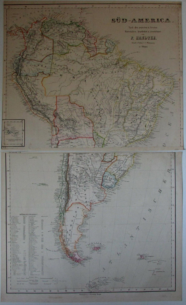 South America New Grenada Brazil Patagonia 1874 Flemming old antique map 2 sheet
