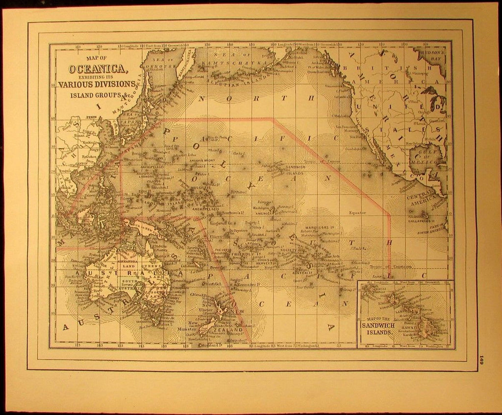 Australia Oceanica Sandwich Islands Hawaii Polynesia NZ 1894 antique map