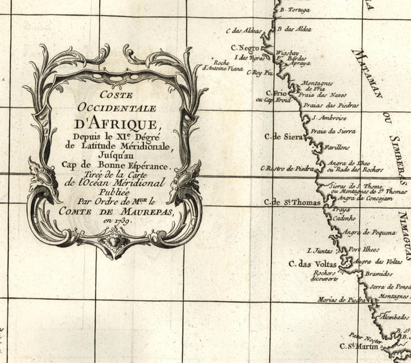 Africa West Coast Angola Benguela Portuguese colonies c.1740 old Bellin map