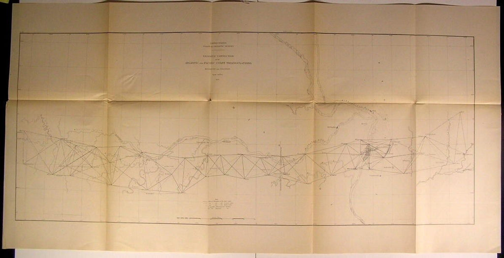 Atlantic & Pacific Coast Triangulations MO IL 1879 U.S.G. old state survey map