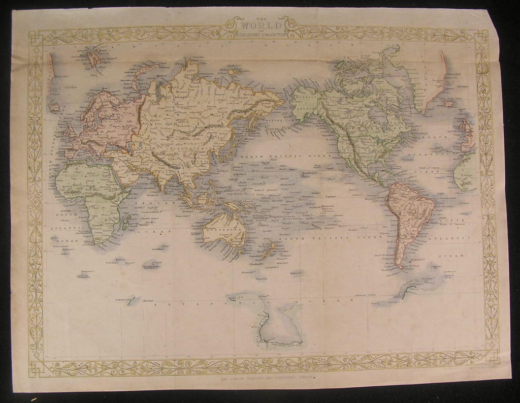 World 1860 Tallis Africa Mts. of Moon fine old vintage antique map