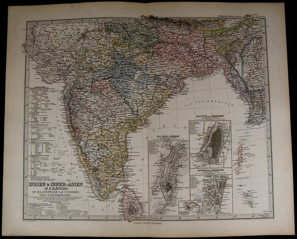 India Madras Bombay Calcutta Bengali Burma Ceylon 1884 fine old detailed map
