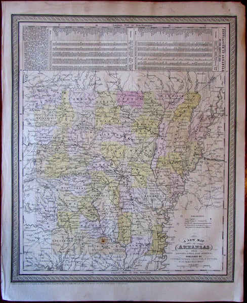 Arkansas slave populations c.1850 Cowperthwait Desilver Butler scarce map