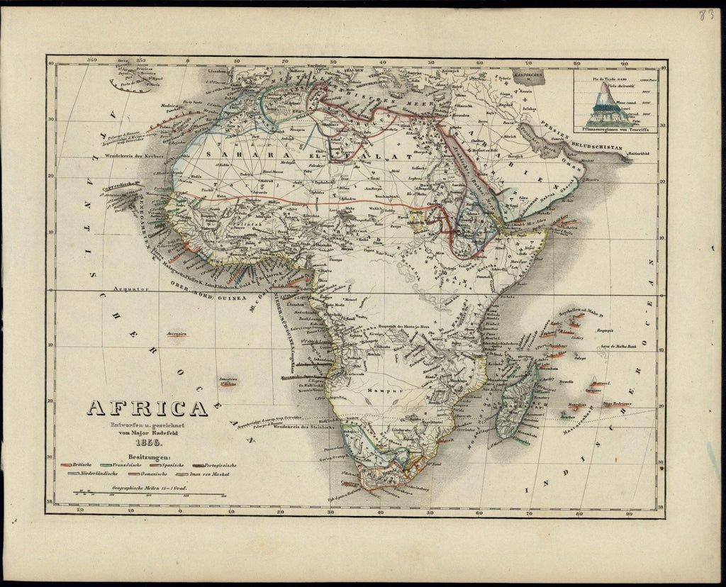 Africa Arabia Mts. of Moon huge mythical 1856 Meyer scarce lovely antique map
