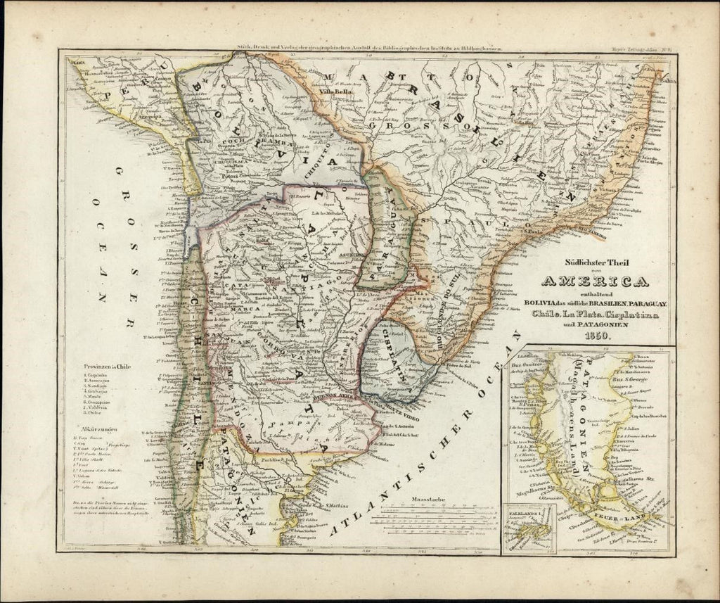 South America Paraguay La Plata Bolivia c.1850 Meyer scarce detailed antique map