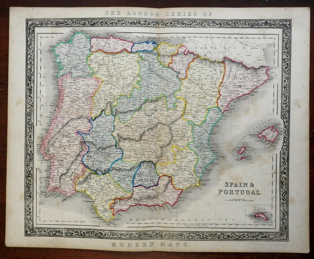 Spain & Portugal Iberia Galicia Castille Andalusia Catalonia c. 1850's Betts map
