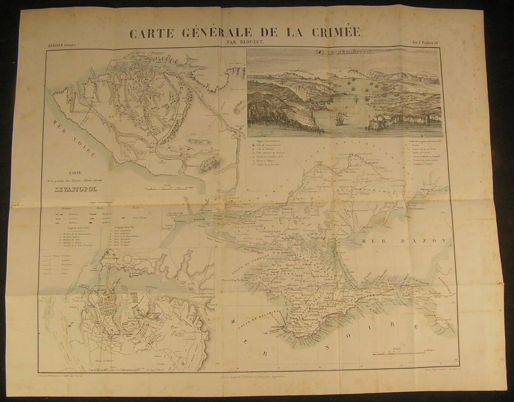 Crimea Sebastopol Battle Plans Black Sea 1858 rare antique engraved color map