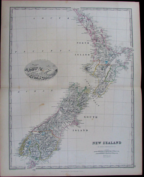 New Zealand North South Islands Alps view Wellington 1868 Johnston pictorial map