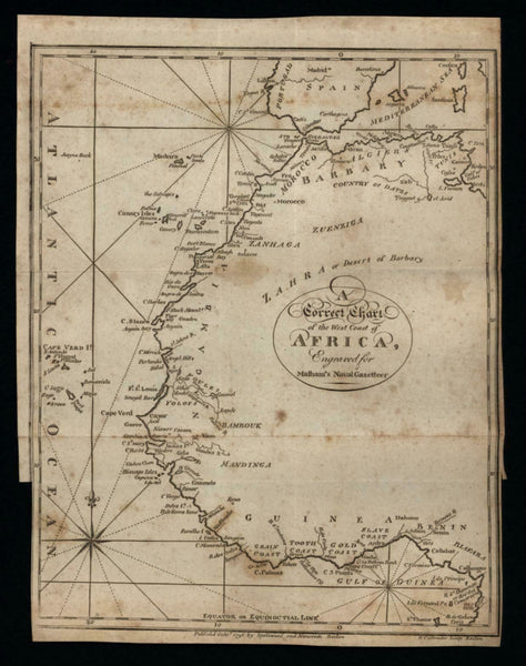 West African Coast 1796 Callender American made rare map 1st to focus W&B #853