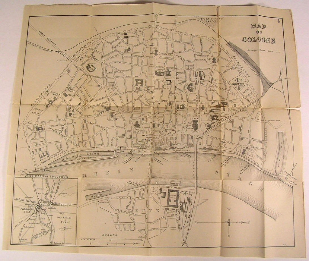 Cologne Germany Rhine River c. 1880 detailed scarce folding city plan old map