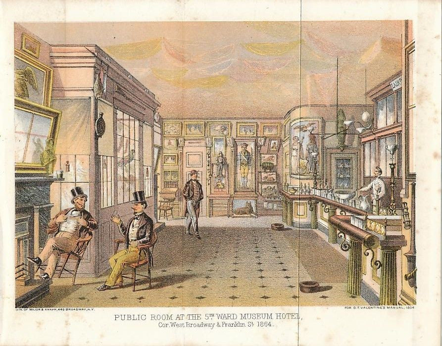 Barroom at 5th Ward Museum Hotel 1864 old vintage color NY city view print