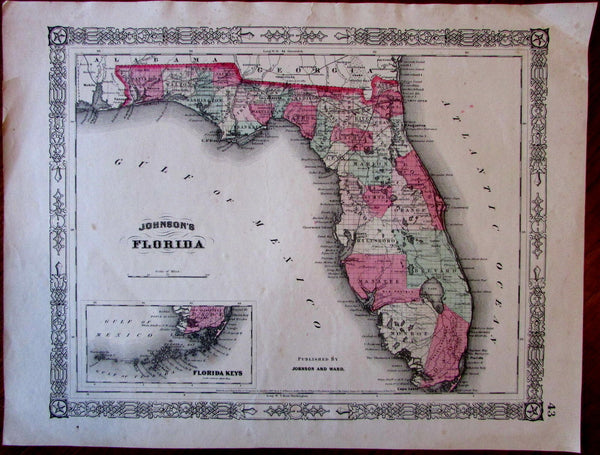 Florida state c.1863 Johnson & Ward nice decorative Civil War era map