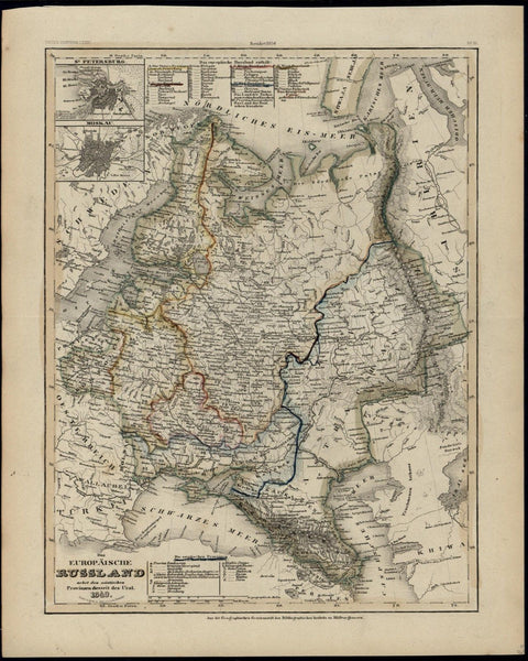 European Russia Moscow St. Petersburg 1849 Meyer scarce detailed antique map