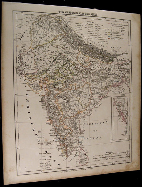 Hindustan India Ceylon Tibet Calcutta Himalayas 1849 Flemming old antique map