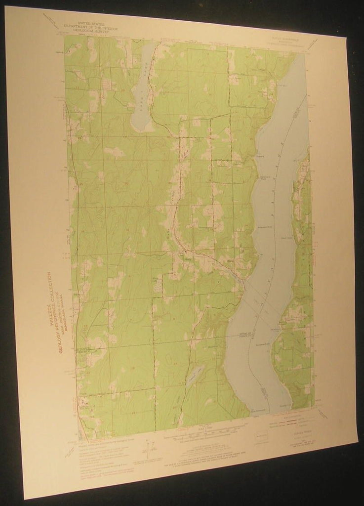 Olalla Washington Crescent Valley Long Lake 1975 antique color lithograph map