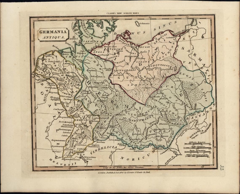 ancient Germany Germania Antiqua 1826 antique engraved hand color map by Souter
