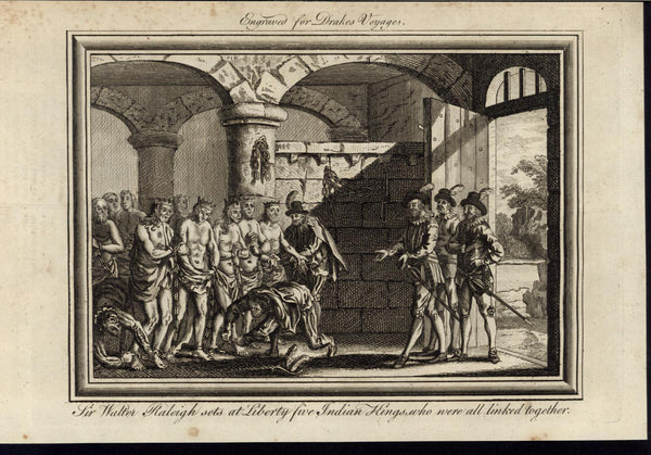 Sir Walter Raleigh Indian King Bondage Colonialism 1768 antique engraved print