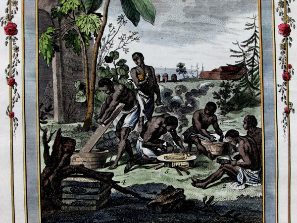 "African natives ""Negroes"" preparing Maniac root Cassava ritual c.1780 old print"