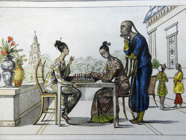 Female Chess Players Timor Indonesia Southeast Asia 1837 scarce French print