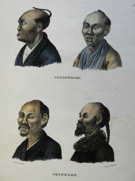 Japanese & Chinese male portraits c. 1850 ethnic view original hand color