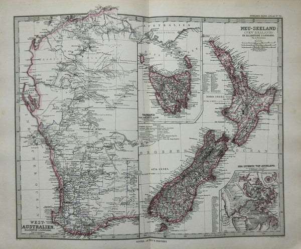 New Zealand North & South Island Tasmania Auckland 1884 Stieler detailed map