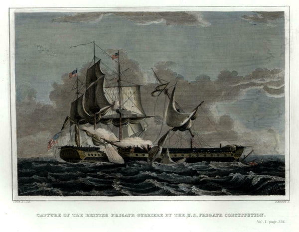 U.S.S. Constitution Old Ironsides War of 1812 Naval Combat 1856 Kimberly view