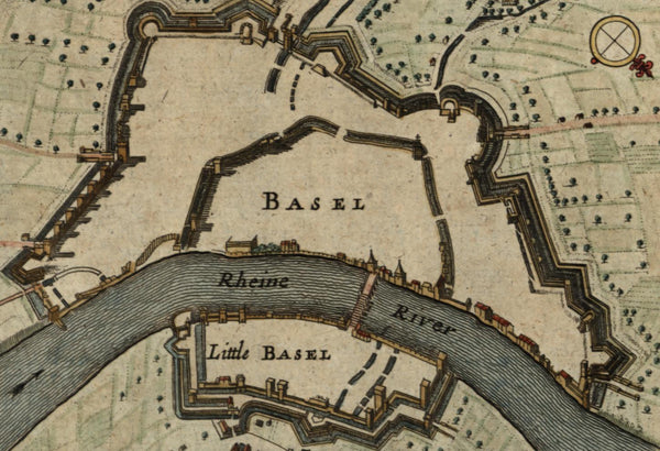 Basel Switzerland Rhine river fortified city c.1720 old engraved hand color map