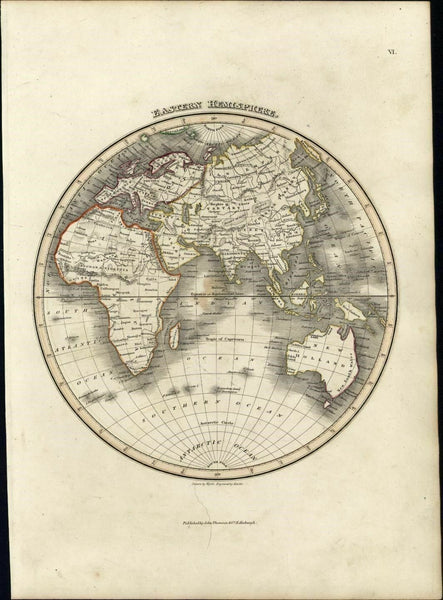 East Hemisphere Asia Australia Africa Mts. of Moon 1819 Hewitt Wyld Thomson map
