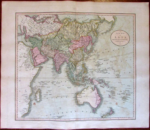 Asia Arabia India China Alaska New Holland 1811 John Cary lovely large old map