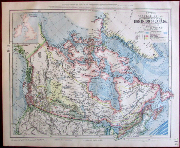 Dominion of Canada northern U.S. Ice pack limits shown 1883 Lett's SDUK map