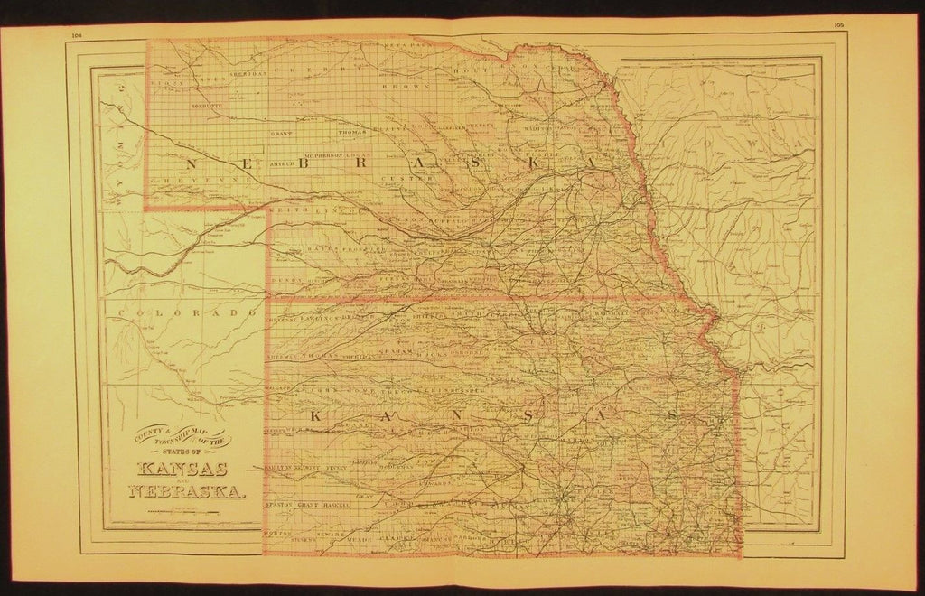Kansas & Nebraska county township 1894 fine large antique hand colored map