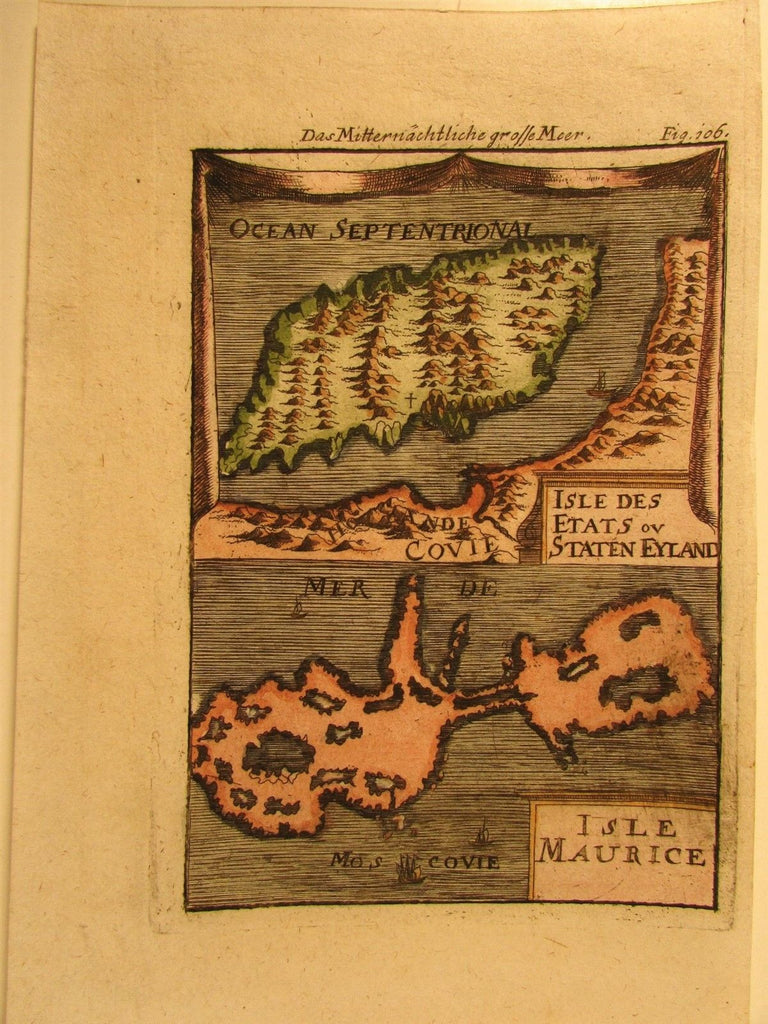 Arctic Circle Russia islands Staten Maurice Mallet 1719 antique engraved print