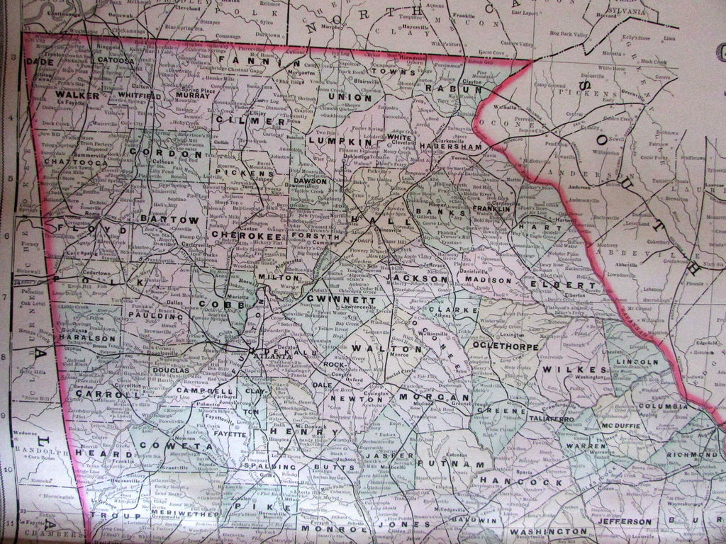 Georgia state 1889 Bradley large oversized hand colored old map very detailed