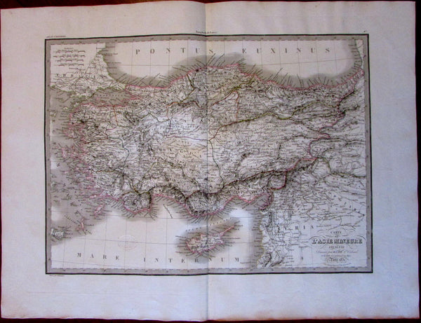 Turkey Asia Minor c.1831 Lapie Cyprus Syria Mesopotamia hand color old map