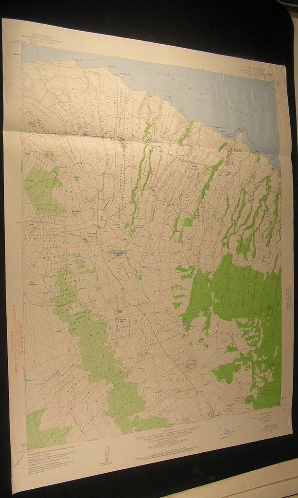 Hawi Hawaii Kohala Mills Lahikiola Puu Lepo 1960 antique color lithograph map