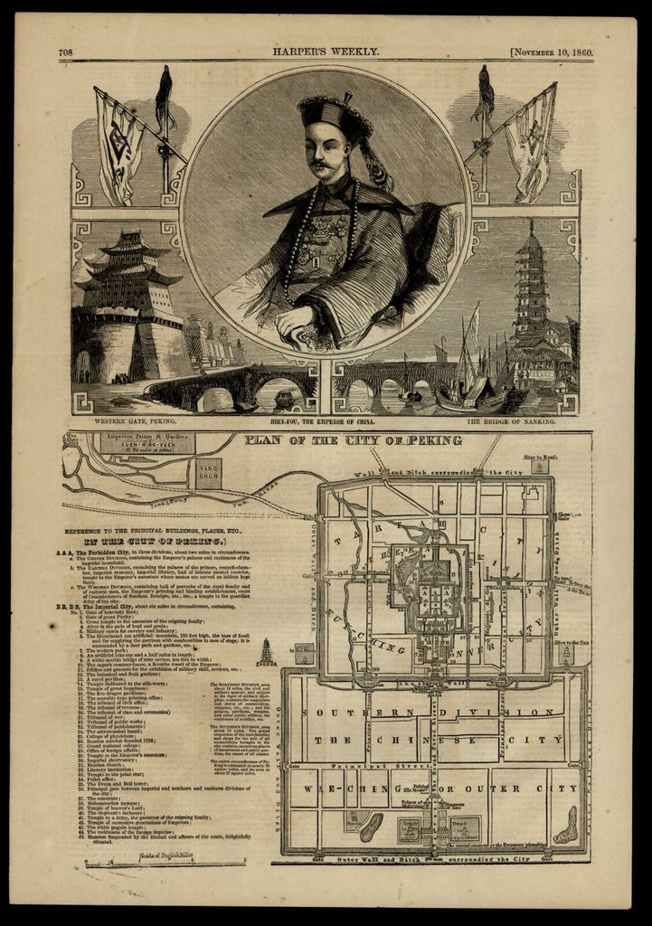 Peking Beijing China city plan 1860 Emperor portrait vignette views map w/ key
