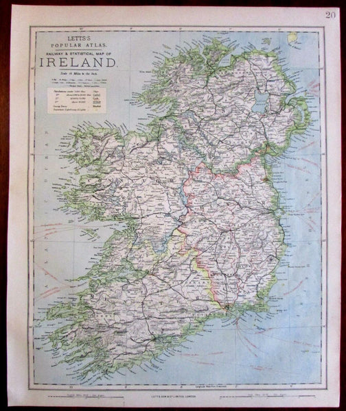 Ireland Eire lighthouses located 1883 Lett's detailed SDUK old map
