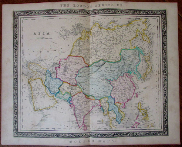 Asia China Arabia India rare 1850 Betts decorative large hand color antique map