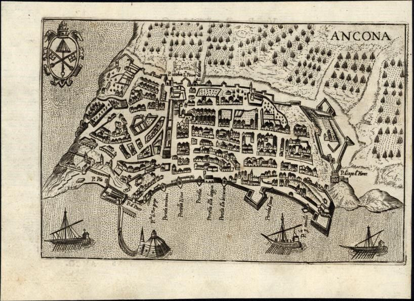 Italy Italian Ancona city plan 1629 Bertelli rare engraved antique map